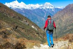 Caminante joven que camina abajo en rastro de montaña Fotografía de archivo