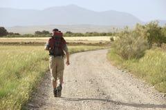 Caminante que camina en la carretera nacional Fotos de archivo