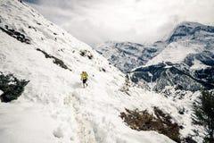 Caminante que recorre en las montañas de Himalaya, Nepal de la mujer fotografía de archivo