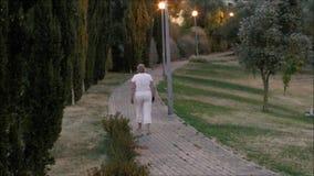Caminante solo en un callejón en Lisboa, Portugal almacen de video