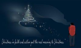 Caminante y árbol de navidad y palabras de la sabiduría ilustración del vector