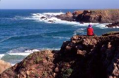 Caminante y océano Imagen de archivo libre de regalías