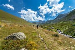 caminantes con las mochilas grandes que caminan en la montaña Kackarlar foto de archivo