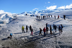 Caminantes en el glaciar merino de Perito en Patagonia Fotografía de archivo libre de regalías