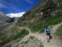 Caminantes en el llano del rastro de seis glaciares Imagenes de archivo