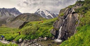 Caminantes en montañas con la cascada Fotografía de archivo libre de regalías