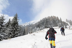Caminantes en montañas del invierno Fotos de archivo libres de regalías
