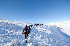 Caminantes en montañas del invierno Imagen de archivo