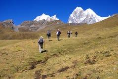 Caminantes en rastro en los altos Andes Fotos de archivo libres de regalías