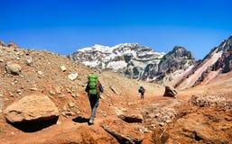 Caminantes en su manera al Aconcagua como se ve en el fondo, la Argentina, Suramérica fotos de archivo libres de regalías