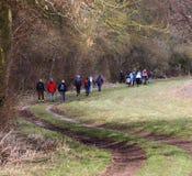 Caminantes en un rastro inglés del país Imagen de archivo