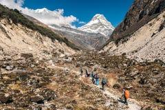 Caminantes que caminan en el rastro de montaña horizontal fotografía de archivo
