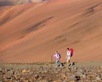 Caminantes que disfrutan del paseo en rastro de montaña asombroso Imagen de archivo libre de regalías