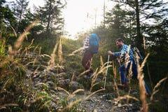 Caminantes que hacen su manera encima de un rastro rocoso del bosque imagenes de archivo