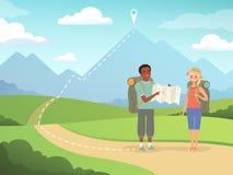 Caminar el fondo Gente del viaje que camina ejemplos de exploración al aire libre del vector de los caracteres de la aventura de  libre illustration