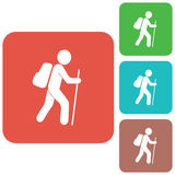 Caminar el icono de los turistas Imágenes de archivo libres de regalías