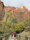 Caminar la trayectoria, Zion National Park, Utah Imagen de archivo