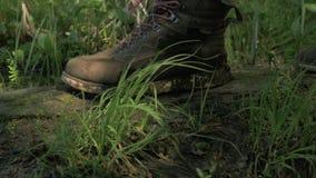 Caminar las botas primer, hombre que camina a trav?s de un ?rbol caido en el bosque 4K almacen de metraje de vídeo