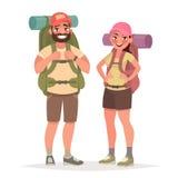 Caminar pares turísticos Hombre y mujer con las mochilas grandes en ilustración del vector