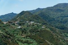 Caminar viaje en las montañas de Anaga cerca de Taborno en la isla de Tenerife Imagenes de archivo