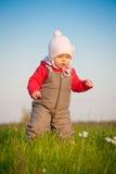 Caminata adorable del bebé encima de la colina Fotos de archivo libres de regalías