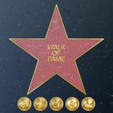 Caminata de Hollywood de la fama Ejemplo de la estrella del vector Bulevar famoso de la acera libre illustration