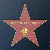 Caminata de Hollywood de la fama Ejemplo de la estrella del vector Bulevar famoso de la acera Cámara clásica de la película que r libre illustration