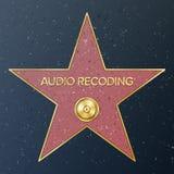 Caminata de Hollywood de la fama Ejemplo de la estrella del vector Bulevar famoso de la acera Expediente de fonógrafo que represe ilustración del vector