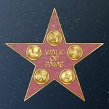 Caminata de Hollywood de la fama Ejemplo de la estrella del vector Bulevar famoso de la acera Monumento público al logro libre illustration