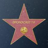 Caminata de Hollywood de la fama Ejemplo de la estrella del vector Bulevar famoso de la acera Receptor de televisión que represen stock de ilustración