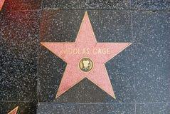 Caminata de la fama - Nicolas Cage de Hollywood Imágenes de archivo libres de regalías