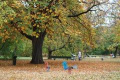 Caminata de la familia en el parque Fotos de archivo libres de regalías