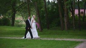 Caminata de los recienes casados en el parque almacen de metraje de vídeo