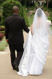 Caminata de novia y del novio Imagenes de archivo