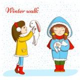 Caminata del invierno ilustración del vector