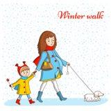 Caminata del invierno Imagen de archivo