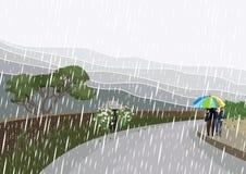 Caminata en la lluvia Imagenes de archivo