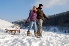 Caminata en la nieve Fotos de archivo
