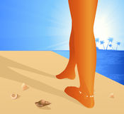 Caminata en la playa Imagen de archivo libre de regalías
