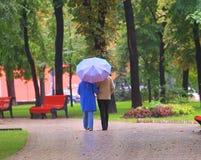 Caminata en parque del otoño Foto de archivo libre de regalías
