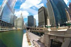Caminata Fisheye del río de Chicago fotografía de archivo