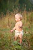 Caminata linda del bebé en parque en puesta del sol Imagen de archivo