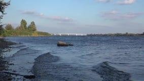 Camine a lo largo del río de Dnepr, cerca del puente almacen de video