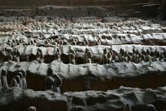 Camine más cercano a los guerreros de la terracota en XI el `, China Él ` s al t Foto de archivo