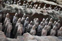 Camine más cercano a los guerreros de la terracota en XI el `, China Él ` s al t Imagen de archivo