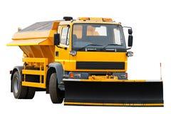 Caminhão alaranjado do arado de neve Fotografia de Stock Royalty Free