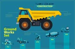Caminhão amarelo O grupo infographic azul, terra trabalha veículos das máquinas do azul ilustração do vetor