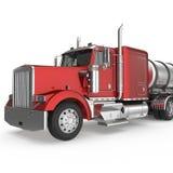 Caminhão americano vermelho com o reservatório grande isolado no branco ilustração 3D ilustração royalty free