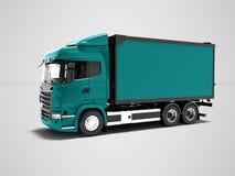 Caminhão azul moderno para o transporte dos bens em torno da cidade 3d ilustração do vetor