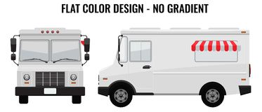 Caminhão branco do alimento Olá!-detalhado com molde contínuo e liso do projeto da cor para a zombaria acima da identidade de mar ilustração stock